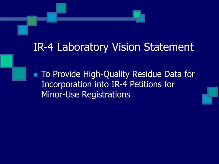 Ir 4 laboratory vision statement