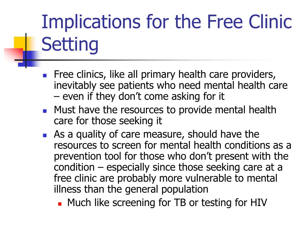 Implications for the Free Clinic Setting