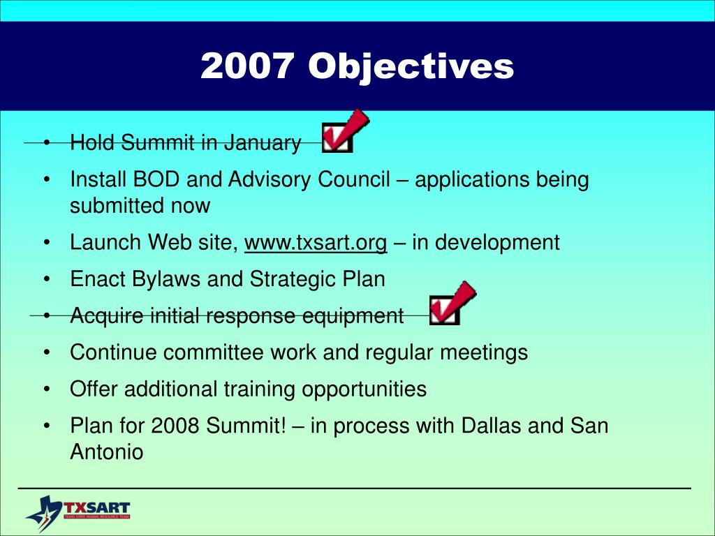 2007 Objectives