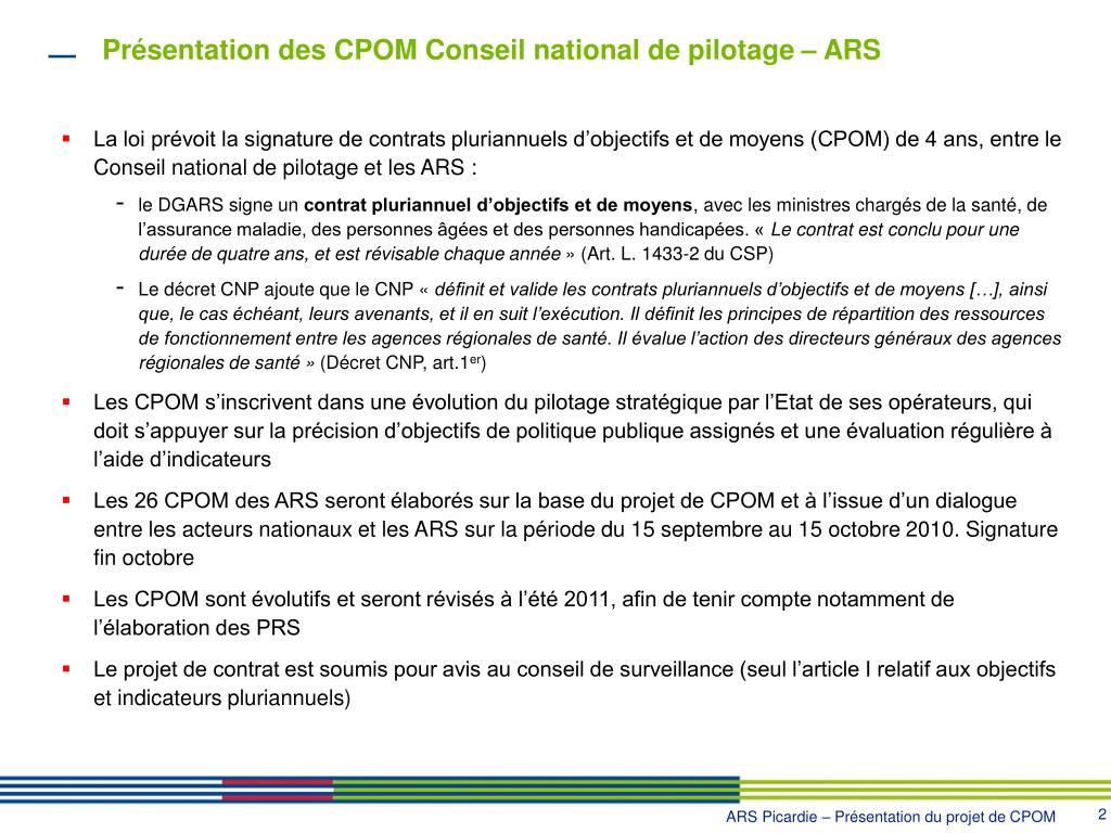 Présentation des CPOM Conseil national de pilotage – ARS