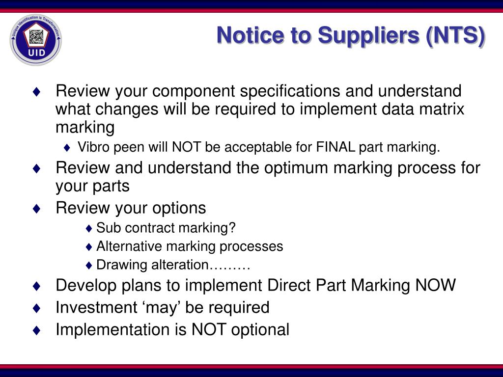 Notice to Suppliers (NTS)