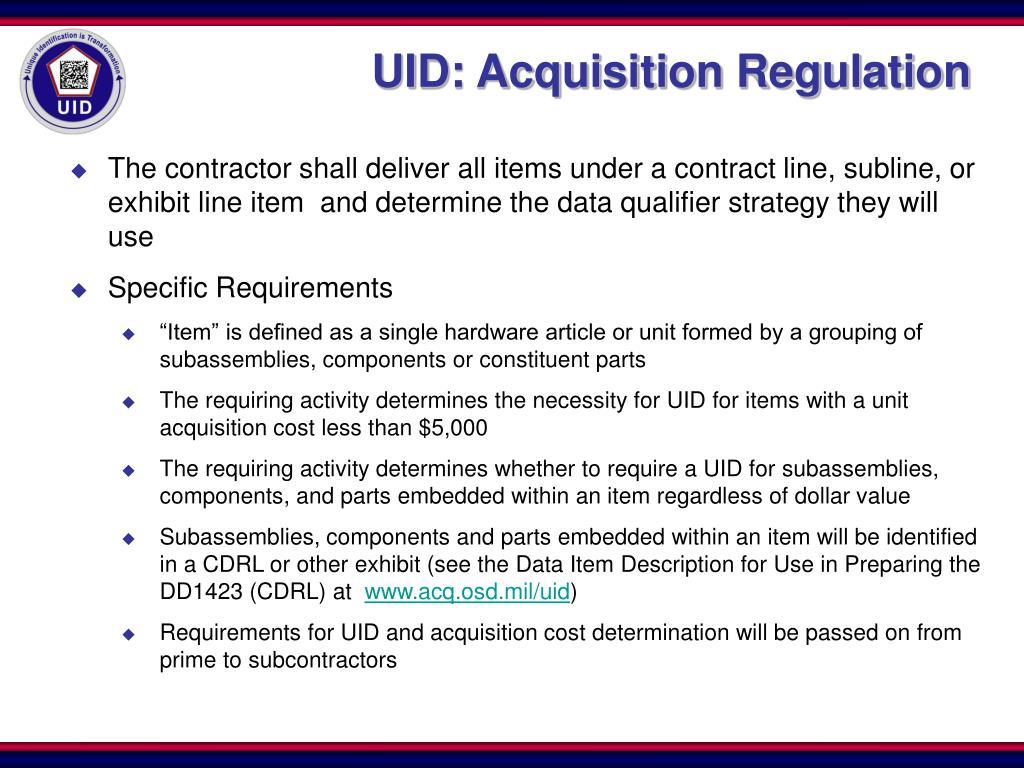 UID: Acquisition Regulation