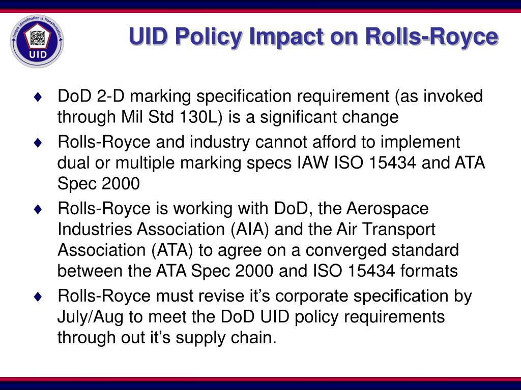 UID Policy Impact on Rolls-Royce