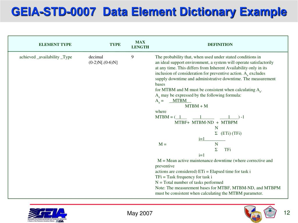 Ppt introduction to geia std 0007 logistics product data for Data dictionary format