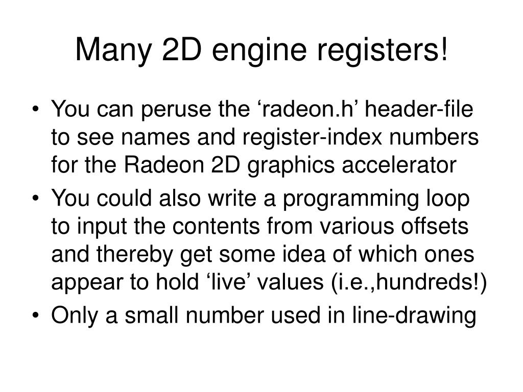 Many 2D engine registers!