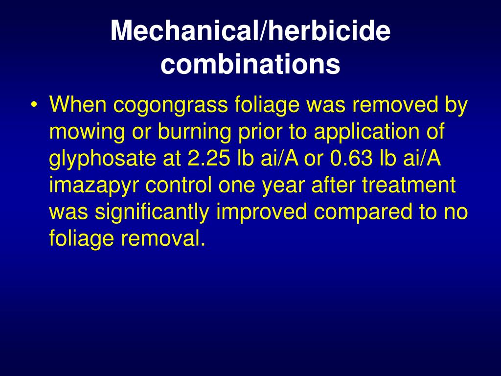 Mechanical/herbicide combinations