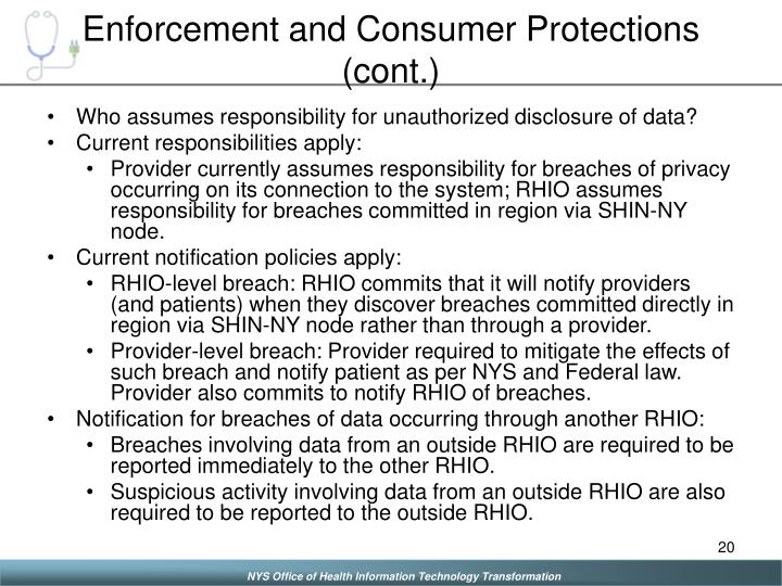 Enforcement and Consumer Protections (cont.)
