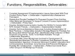 functions responsibilities deliverables
