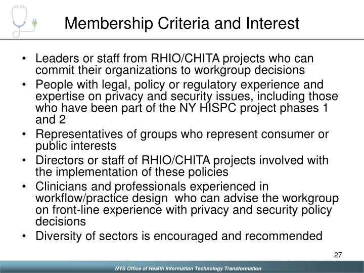 Membership Criteria and Interest