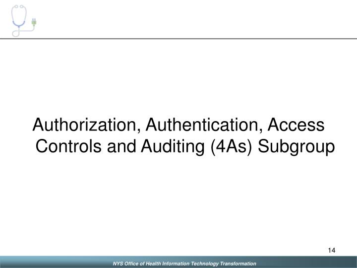 Authorization, Authentication, Access Controls and Auditing (4As) Subgroup