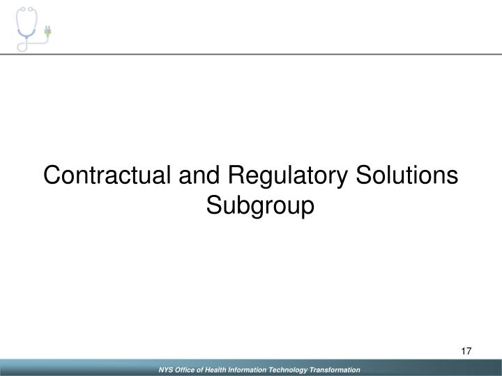 Contractual and Regulatory Solutions Subgroup