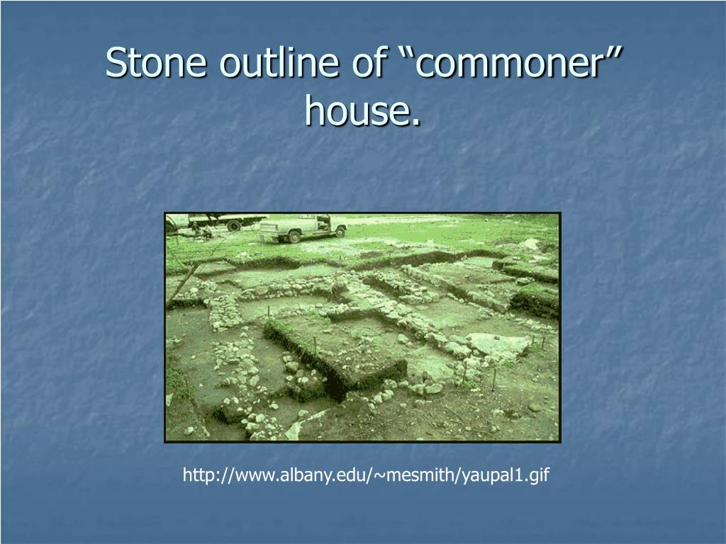 """Stone outline of """"commoner"""" house."""