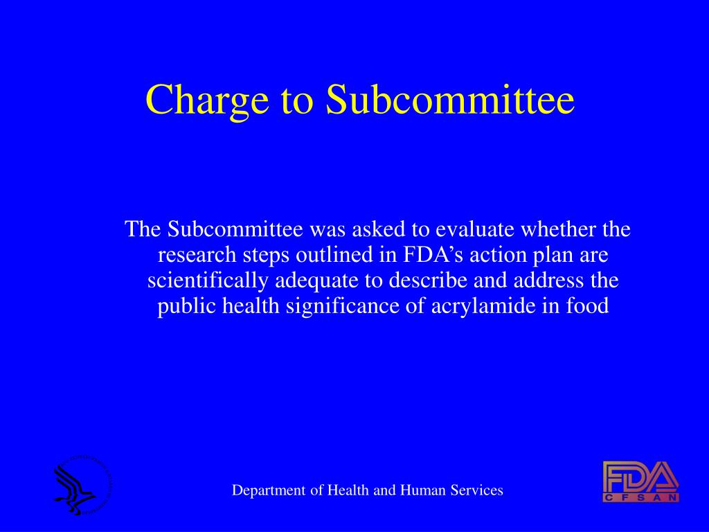 Charge to Subcommittee