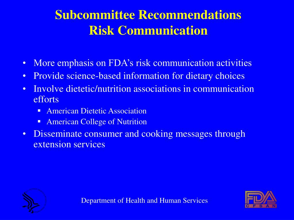 Subcommittee Recommendations