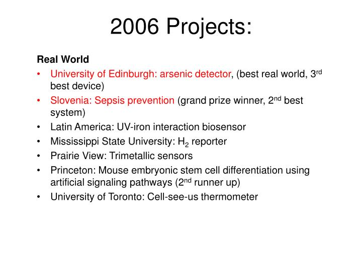 2006 Projects: