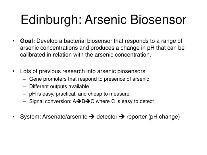 Edinburgh: Arsenic Biosensor
