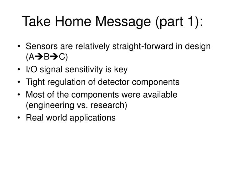Take Home Message (part 1):
