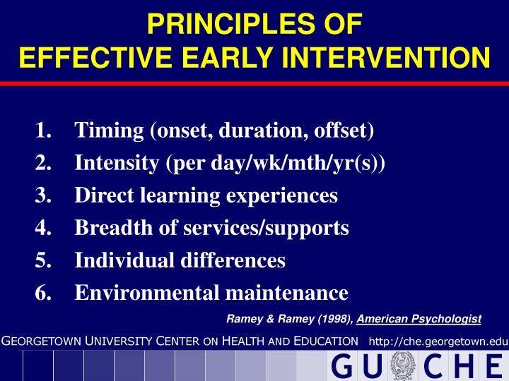 Principles of effective early intervention