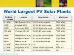 world largest pv solar plants
