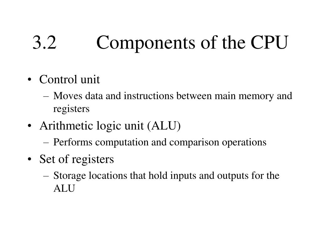 3.2		Components of the CPU