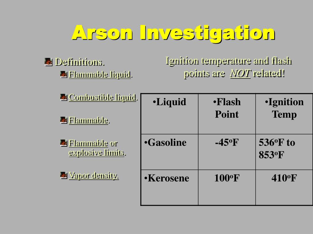 Ignition temperature and flash points are