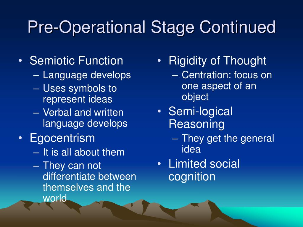 an implementation of piagets stage theory of cognitive development on the pre operational children Read this essay on piaget's development observed in a child piaget's cognitive development theory involved the idea that as the brain grows the concrete operational stage age 7-11 is where the ability to think logically about concrete objects and events.