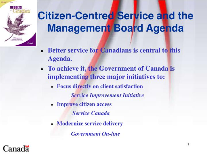 Citizen centred service and the management board agenda