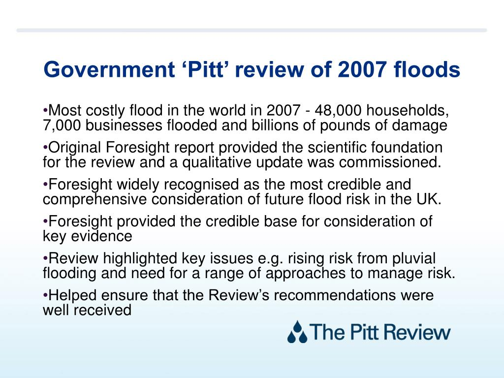 Government 'Pitt' review of 2007 floods