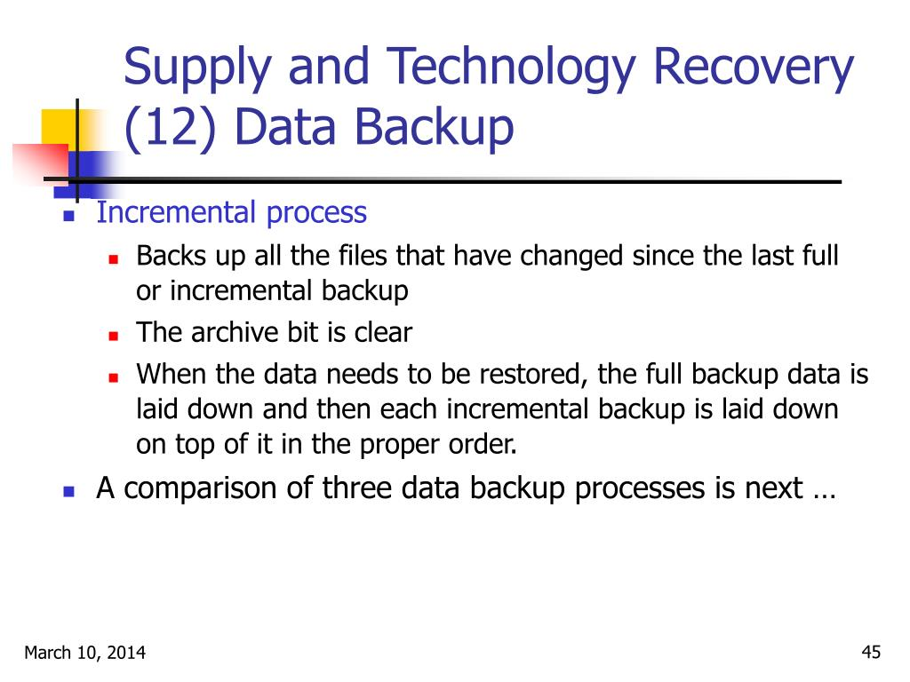 Supply and Technology Recovery (12) Data Backup