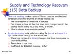supply and technology recovery 15 data backup