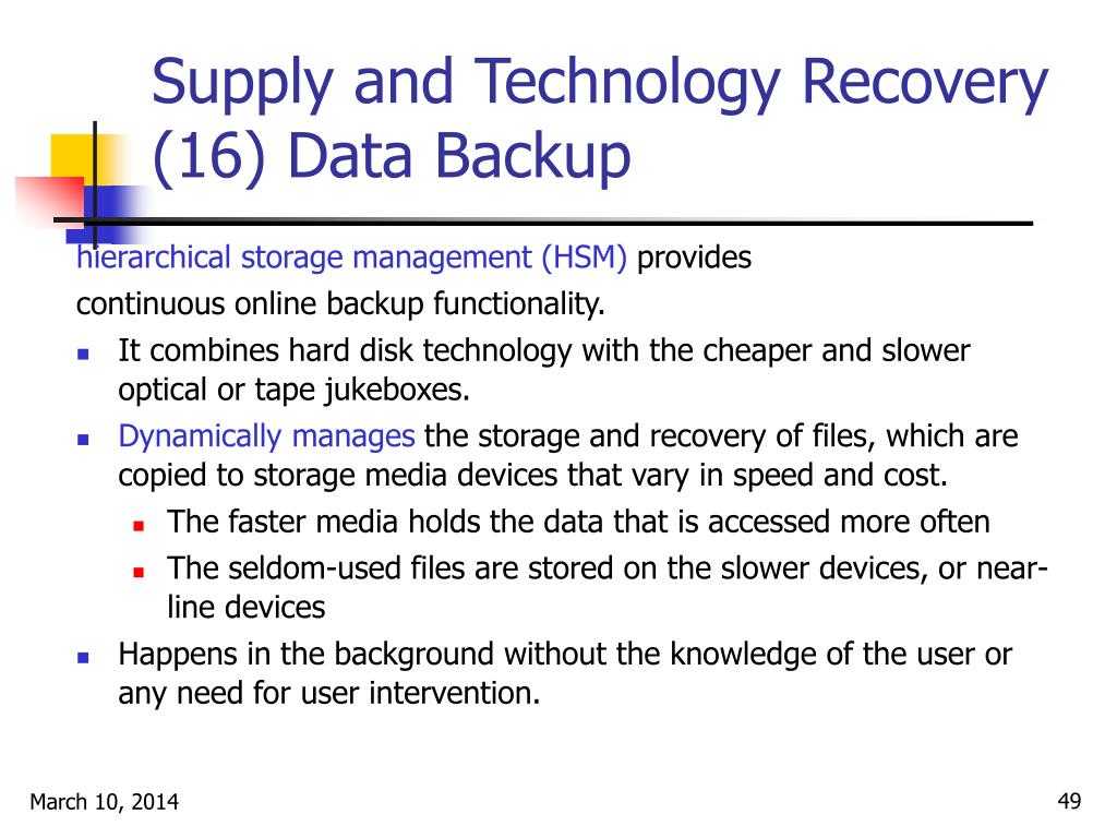 Supply and Technology Recovery (16) Data Backup