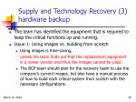 supply and technology recovery 3 hardware backup