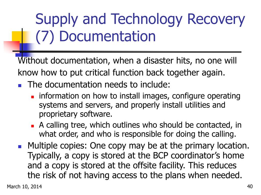 Supply and Technology Recovery (7) Documentation