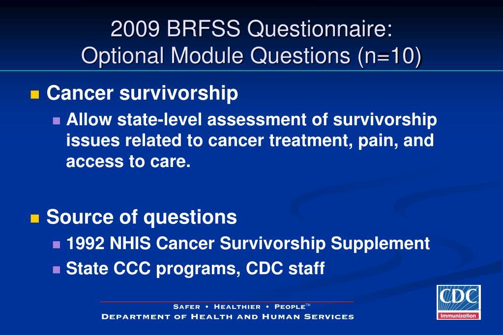 2009 BRFSS Questionnaire: