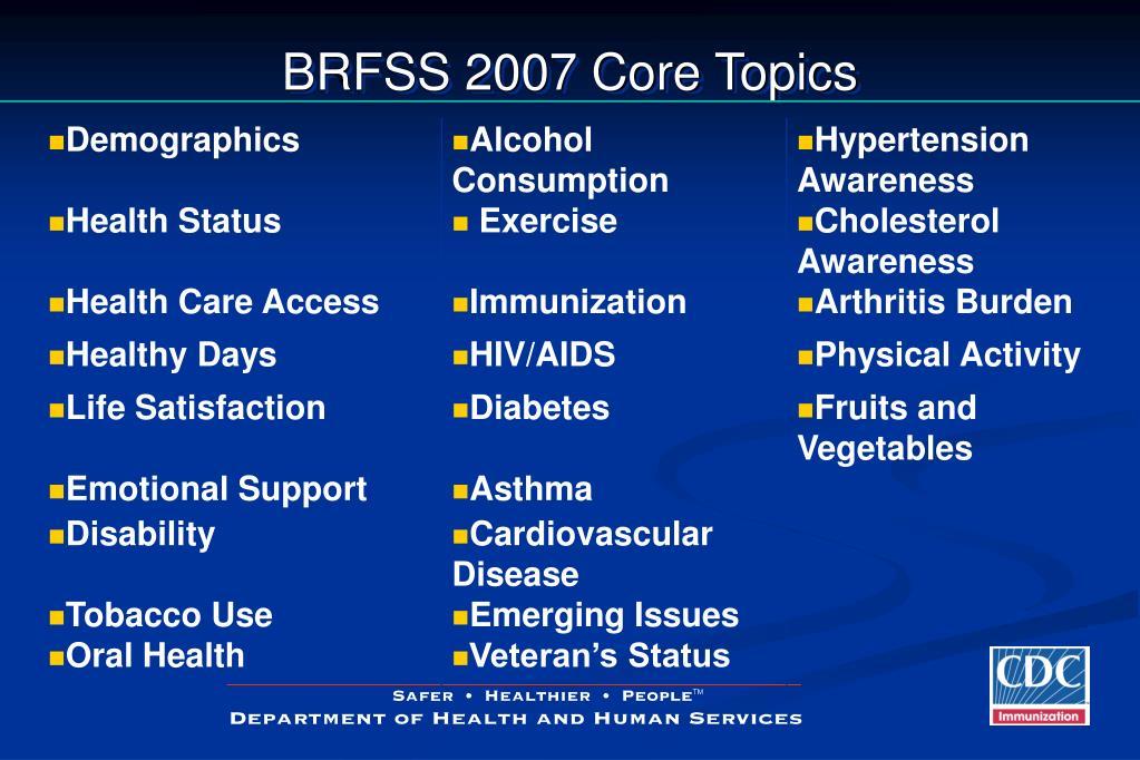 BRFSS 2007 Core Topics