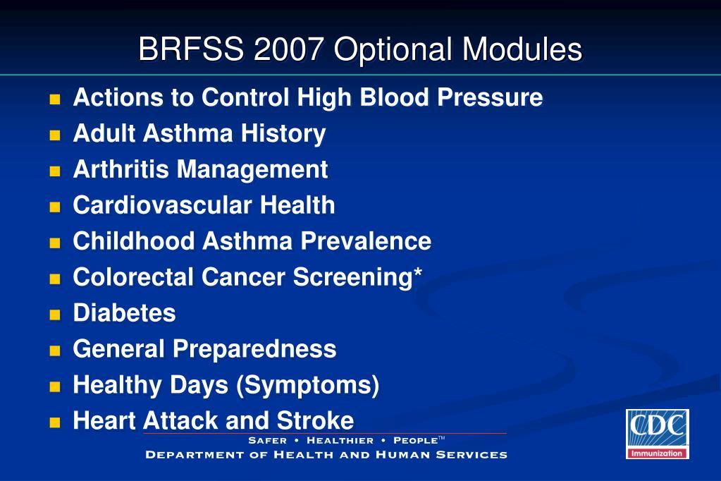 BRFSS 2007 Optional Modules