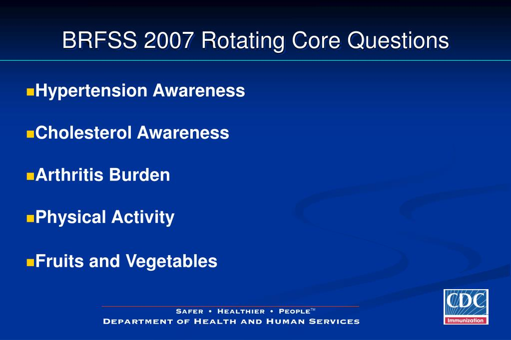 BRFSS 2007 Rotating Core Questions