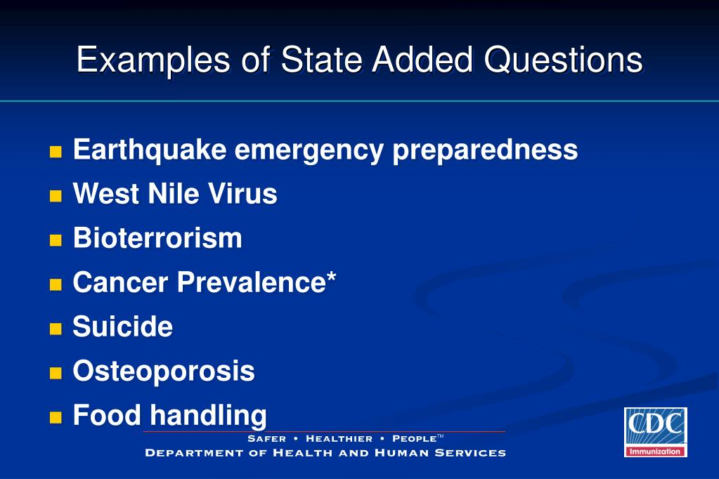 Examples of State Added Questions