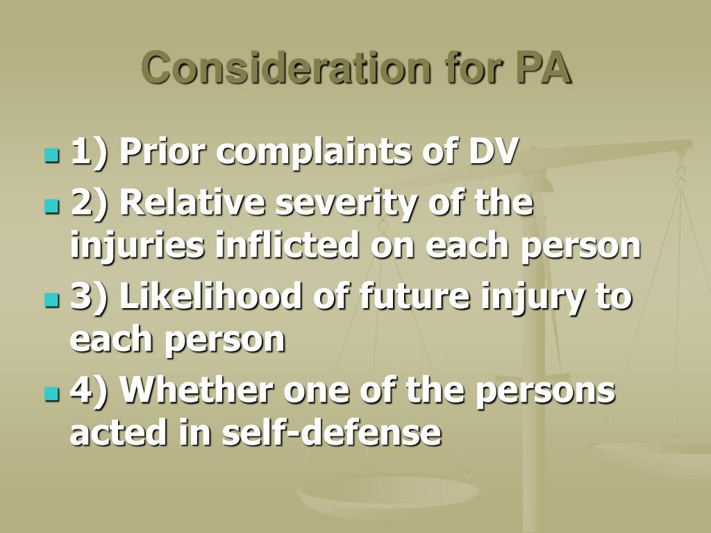 Consideration for PA