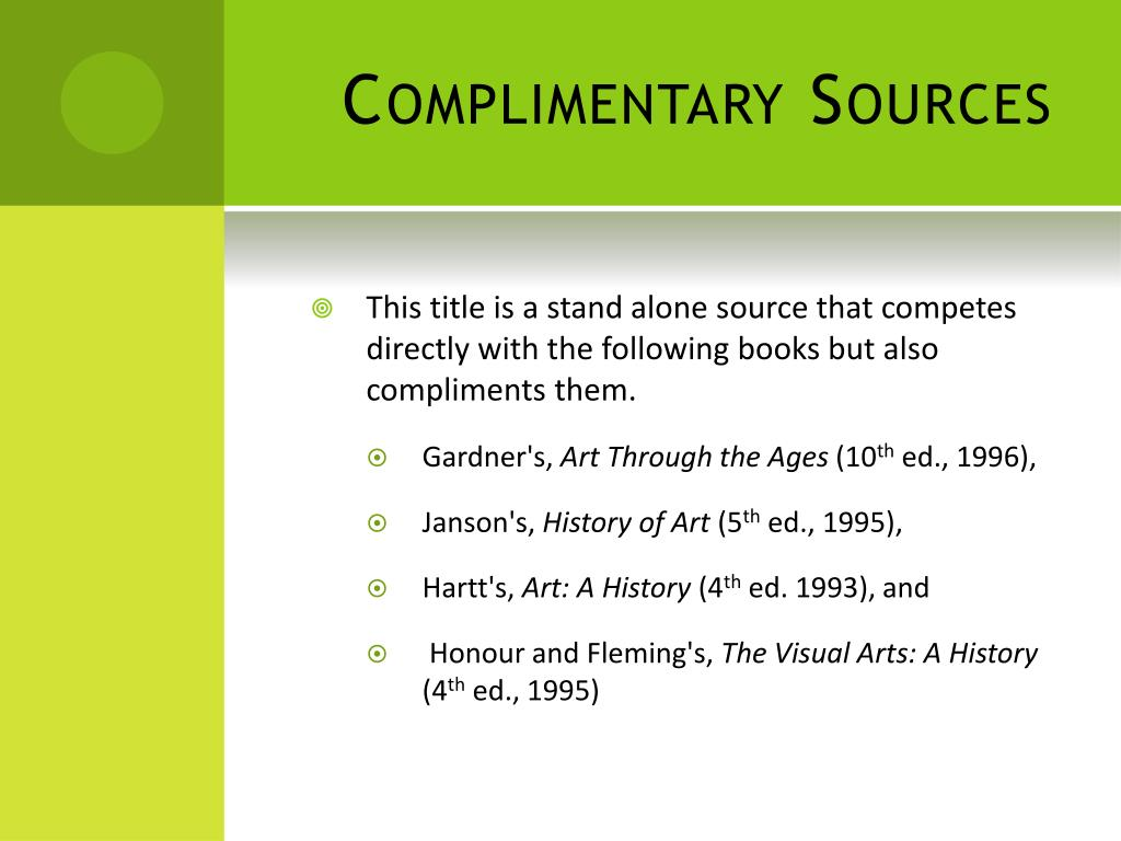 Complimentary Sources