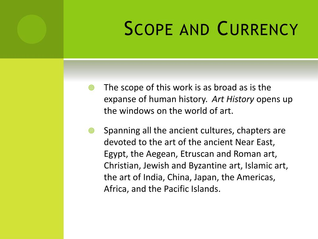 Scope and Currency