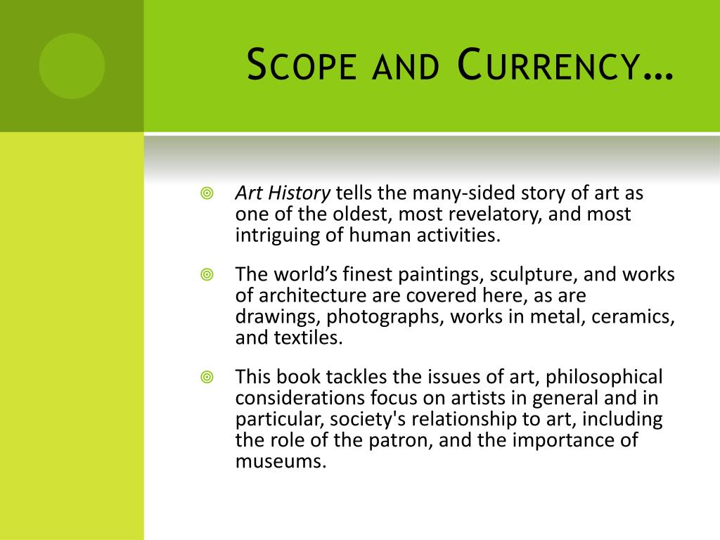Scope and Currency…