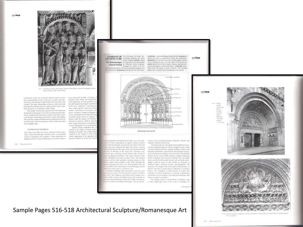 Sample Pages 516-518 Architectural Sculpture/Romanesque Art