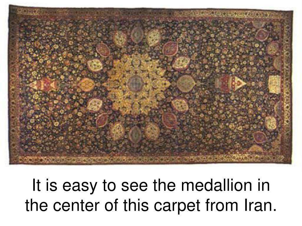 It is easy to see the medallion in the center of this carpet from Iran.