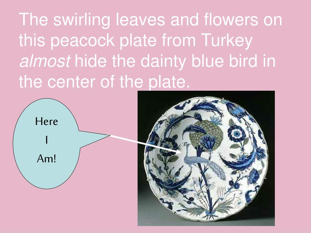 The swirling leaves and flowers on this peacock plate from Turkey
