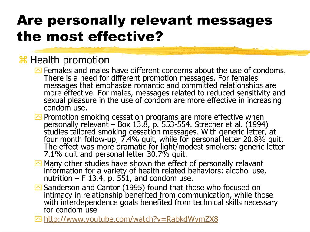 Are personally relevant messages the most effective?