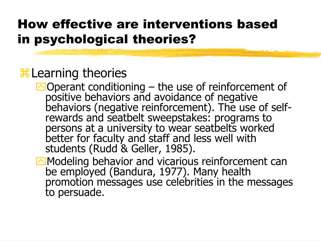 How effective are interventions based in psychological theories?
