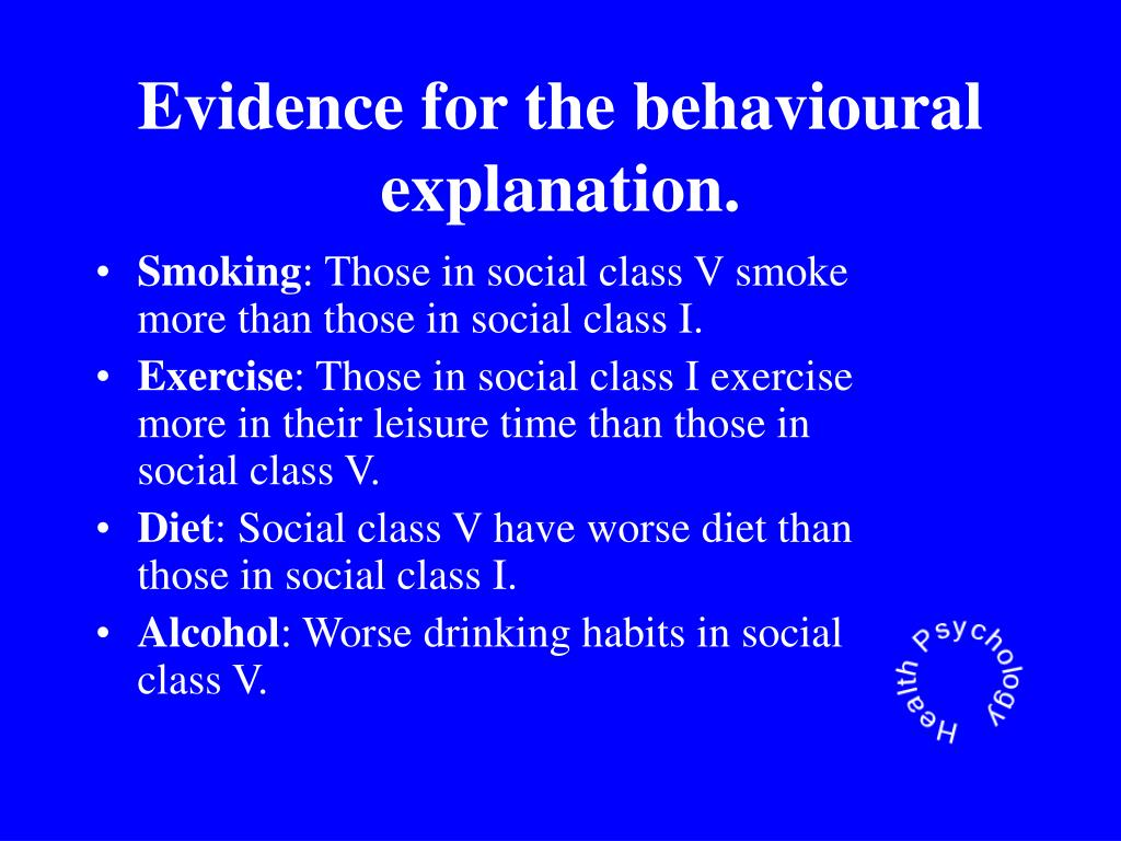 Evidence for the behavioural explanation.