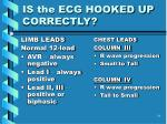is the ecg hooked up correctly