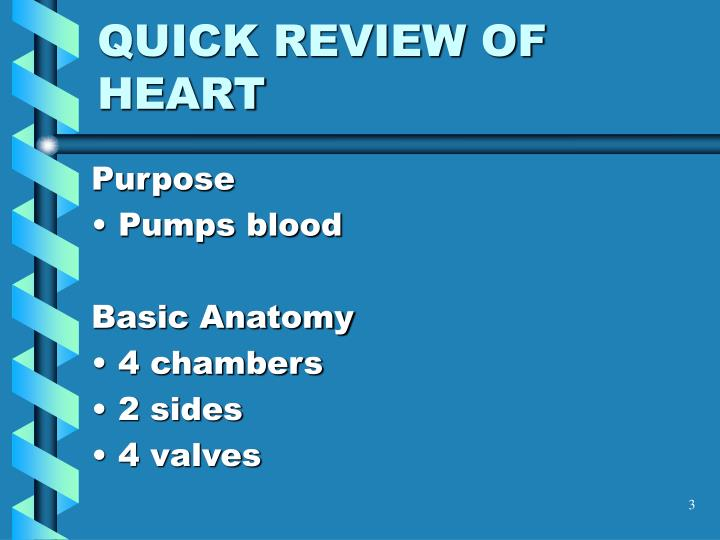 Quick review of heart